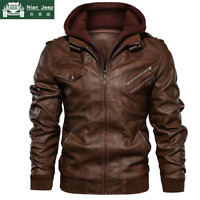 ANIAN JEEP utumn Winter Motorcycle Leather Jacket Men Windbreaker Hooded PU Jack