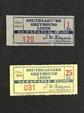 Southern Greyhound Lines Set Of Two , 1, 25, LB. Newspaper Stamps