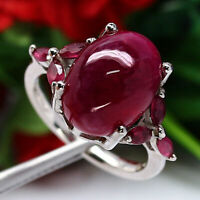 NATURAL 10 x 14 mm CABOCHON RED RUBY & WHITE CZ RING 925 STERLING SILVER