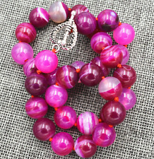 """12mm Natural rose Red Stripe Agate Onyx Gems Necklace 18"""" AAA"""