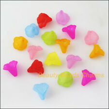 20Pcs Mixed Plastic Acrylic Flower Horn Spacer End Bead Caps Charms 13.5x14.5mm