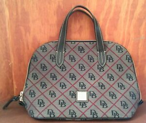 Dooney and Bourke Signature Black Grey and Red Dome Satchel Bag