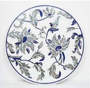"24"" Marble Table Top Semi Precious Stones Floral Inlaid Handmade work"