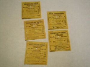 5 - 1960 Wabash Railroad Blank to Blank Coach Only Tickets Consecutively Numbers
