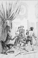 CARICATURE RÉVOLUTION FRANCAISE - L'OMBRE de MIRABEAU - Gravure du 19e siècle