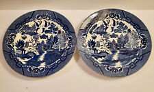 "(2) BLUE WILLOW KAXUSA CHINA DINNER PLATES~9""~MADE IN OCCUPIED JAPAN"