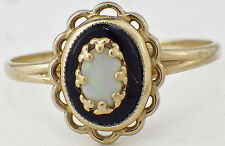 Vintage 10K Yellow Gold Black Onyx Opal Ring Dainty Setting Size 6.5