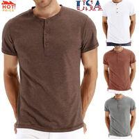 Men Casual Solid Short Sleeve Button Elastic T Shirt Tops Blouse Shirt USA STOCK
