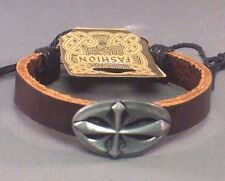 Christian Bracelet BROWN LEATHER Cuff ANTIQUE SILVER GOTHIC CROSS Facing Gift!