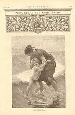 Child Swimming Beach His First Dip by Demont Breton Vintage 1892 Antique Print