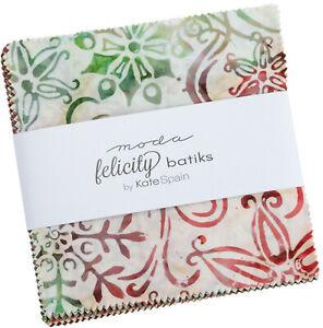 """Felicity Batiks Moda Charm Pack 42 100% Cotton 5"""" Precut Quilt Squares"""