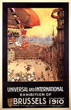 Vintage Brussels International Exhibition Poster 1910
