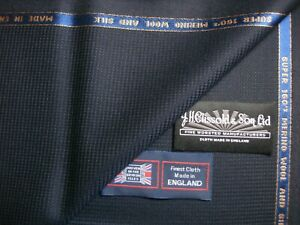 """SUPER 160's WOOL & SILK SUITING FABRIC IN """"Navy/Black"""" MADE IN ENGLAND= 4.55 m."""