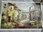 IMPASTO PAINTING LARGE SEASIDE WITH COTTAGES FLOWERS MAYBE ITALY 24X36
