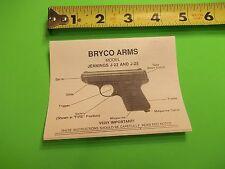 "Small Owners Jennings Firearms Model J-22 and J-25 Pistol Manual (4""x3"")"