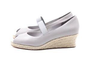 FLIPFLOP Mary Jane Pumps EUR 39 UK 6 Grau Echt Leder Peep Toe Damen Schuhe