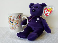 Ty Beanie Baby Retired Princess Diana Purple Bear & Rare Birth Of First Son Mug
