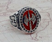 War Axe Turkish Red Agate Gemstone 925 S Sterling Silver  Mens Ring