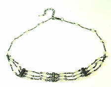 90'S Trend Goth Black Chain Ladies Choker Necklace Grey Beads(Zx1)
