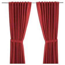 """IKEA Curtains With Tie-Backs 1 Pair Red 57 """" x 98 """""""