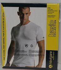 3 T-shirt Navigare Uomo mezza Manica cotone Jersey Girocollo 513 Maglia intima Nero 6/xl