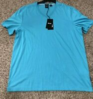 Men's SZ 2XLarge HUGO BOSS Heather Blue Logo T-Shirt  NWT Regular Fit