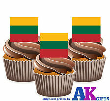 Lithuania Lithuanian Flag -12 Edible Wafer Cake Toppers Decorations Celebrations