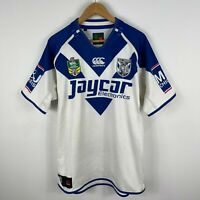 Canterbury Bulldogs NRL Jersey Mens Large White Blue Short Sleeve V-Neck