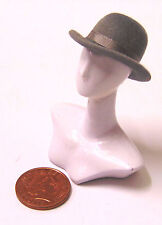 1:12 Scale Dark Grey Bowler Hat Dolls House Miniature Clothing Accessory G Band