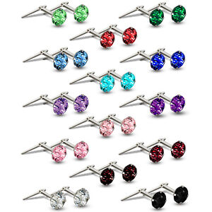 STERLING SILVER ANDRALOK STUDS WHITE 3.5MM COLOUR CUBIC ZIRCONIA ROUND EARRINGS
