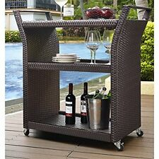 Palm Harbor Outdoor Wicker Bar Cart New