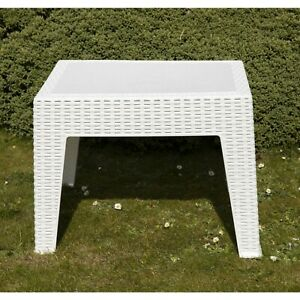Plastic Side Coffee Table Sun Lounger Chair Bistro Garden Outdoor Table White