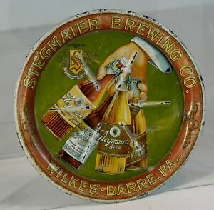 ca1905 STEGMAIER BREWING COMPANY TIN LITHO ADVERTISING TIP TRAY / BEER TRAY