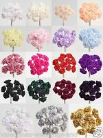 Miniature Wired Satin Ribbon Roses on Stem - Flowers Craft Rose Embellishment