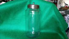 Antique APOTHOCARY JAR Hand Blown Glass Tin Lid Pontil