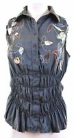 DESIGUAL Womens Shirt Sleeveless Size 44 XL Multicoloured Cotton Slim  CJ17