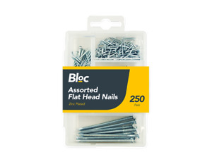 250 Pack Assorted Flat Head Nails Zinc Plated DIY Wood Carpentry Fencing