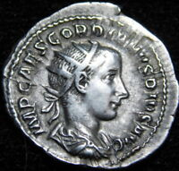 AD 238-244  GORDIAN III ROMAAN IMPERIAL DRAHCM  SILVER COIN    A31-147