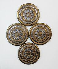 Mosaic Tile Coasters / Handmade Geometric Ceramic Tiles / Old Gold / Set of 4