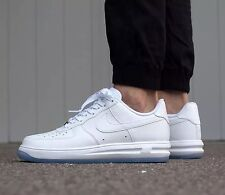 NIKE LUNAR FORCE 1 '1/4 Trainers Shoes Casual - Triple White - UK 7.5 (EUR 42)