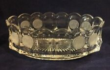 """Vintage Fostoria Clear Coin Glass Bowl Dish 9"""" Liberty Bell, Colonial Man"""