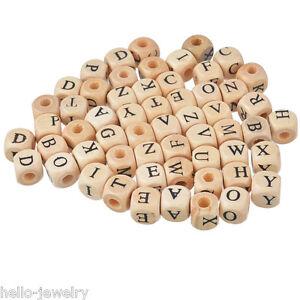 100 Holzperlen zum Fädeln Würfel Würfelperlen Buchstaben Speichelfest 10mm *