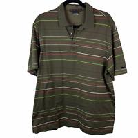 Nike Dri Fit Tiger Woods Mens sz L Large Polo Golf Shirt Striped Green Red Tan