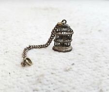 1930's VINTAGE OLD TRIBAL BIRD IN A CAGE SHAPE SILVER AMULET PENDANT- 3.70 Grams