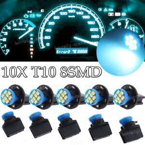 10x Ice Blue T10 168 Instrument Panel Gauge LED Light Bulb 194 Twist Lock Socket