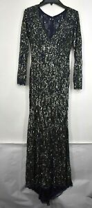 Mac Duggal Womens Midnight Navy Beaded Sequin Long Sleeve Gown Plunging V Neck