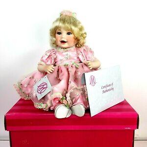 Marie Osmond LTD Queen Elizabeth Doll Blonde Pink Rose Dress Sitting 15''