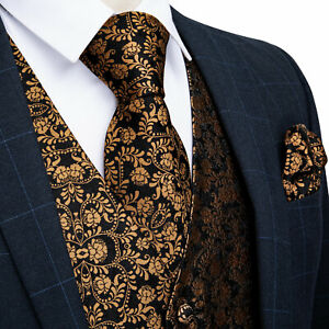 Men's Dress Vest Neck Tie Set Suit Tuxedo Slim Fit Silk Waistcoat Wedding Party