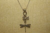 """Sterling Silver ATI 925 ID DRAGONFLY Pendant Necklace 24"""" Sterling Chain P#"""
