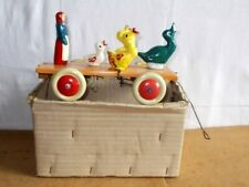 Ancien jouet bois avec mécanisme - CAMELIN - BERGÈRE ET CANARDS à tirer - 20/30s